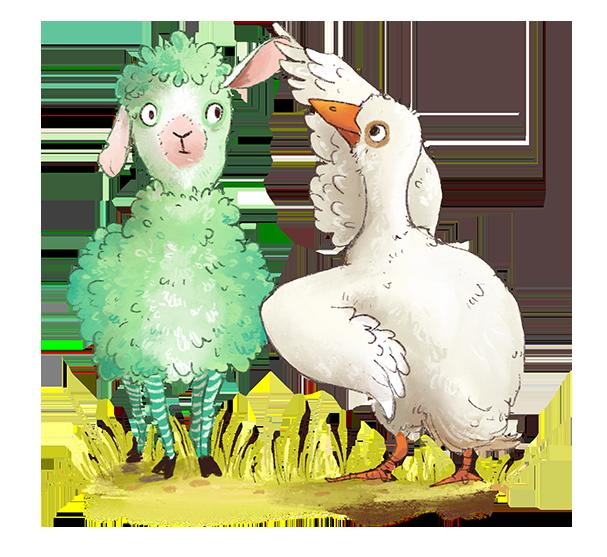 Vignette_Schaf und Gans